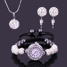 Customized fashion lady watch set 10mm Crystal Disco Ball Beads Necklace Pendant/Watch Bracelet/ Earring Jeweley Set