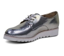 High quality lace up flat silver genuine leather women shiny flat shoes