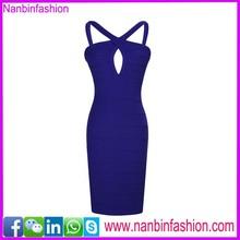 sleeveless blue cross over bodycon dress 2015
