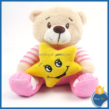 22cm stuffed animals plush stripe bear with five-pointed star plush toys blue and pink teddy bear