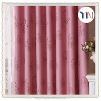 Lovely pink printed blackout fabric for window curtain readymade curtain for hotel and home decor flame retardant textil factory
