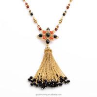 2015 Brand Fashion Trending CR Designs Black Beads Tassel Cross Pendant Long Chain Pendant Necklace N2396