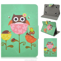 Green Skin Cute Owls Pattern Foldable Stand with Magnetic Button PU Leather Universal Covers Case For 7/8/10inch Tablets