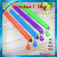 free samples fancy wrist band silicone slap usb flash drive