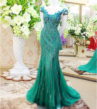 SED019 Real Picture Luxury Sexy See Through Back Scoop Appliques Beaded Organza Turquoise Indian Long Mermaid Evening Dress