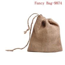 Fashionable eco mini jute drawstring bag for rice coffee packing