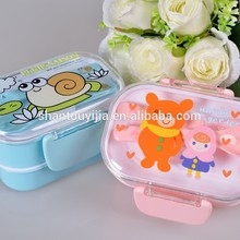 Double Layers cartoon plastic kids double layer lunch box
