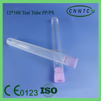 Transparent 12x100 PP/PS Test Tube with Stopper