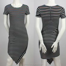 new fashion wholesale short sleeves striped design ladies short dresses
