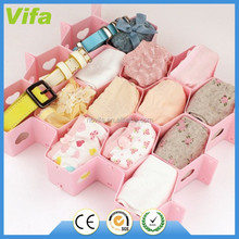 1x8pcs Honeycomb with small hearts shape underwear sock tie drawer closet divider storage organizer box 4 colors