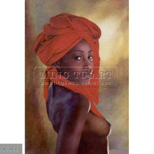 Handpainted nude african woman body canvas painting,black with red scarf