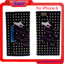 bling design with embroidery leather case cover for iPhone 6 flipcover