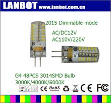 2015 ce rohs Hot Sell 13*38mm 2700K/3000K/4000K/6000K AC110V/220V AC/DC12V LED G4 Bulb RA>82 89