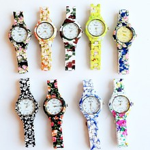GENEVA Rose Flower Watch Ladies and Girls Floral Watches Women Quartz Wristwatch relogio White Leather
