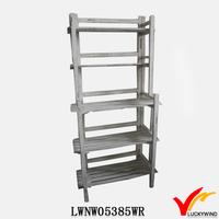 5 Tier Rustic White Handmade Wooden Display Rack