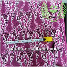 Pink flowers fabrics sample lace for girls dresses