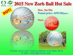 HI Fashional sport best design 0.8/1.0mm PVC/TPU &Dia2.8m/3.0m inflatable zorb ball,zorb ball rental,zorb ball for bowling