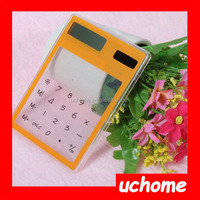 UCHOME Hot selling plastic touch Screen Solar Transparent Calculator for promotion