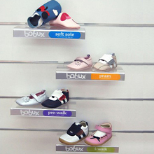 Clear acrylic slatwall shoe shelf display with customized Logo printed