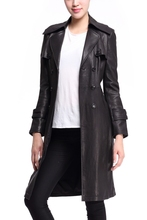 Genuine leather black color long coat custom made trench coats ladies