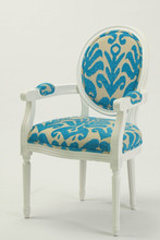 French /Eurpean style Louis XV Bule Flower Chenille Fabric wooden Dining Arm chair/Living Leisure chair(CH-904)