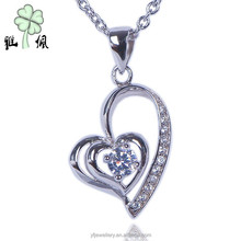 Women Popular necklaces jewelry 925 silver White Gold Plated Pendant