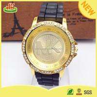 High quality silicone lady quartz diamond luxury watch brands