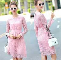 Pink Color Girl's free pattern 2015 SEXY FREE PROM DRESS Lace/WHOLESALE WOMAN DRESS WOMAN 2016/LONG SLEEVE LADY FASHION DRESS XL