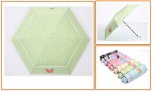Manual Black Metal Frame 6 Panels Polka Dot And Heart Printed Folding Umbrella Many Colors Are Available