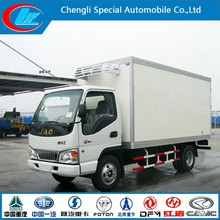 High quality small fast food truck New condition mini refrigerator cooling van diesel fuel live fish transport truck of 3 ton