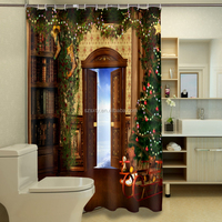 New hot wholesale 3d waterproof shower curtain with wood door design for Christmas