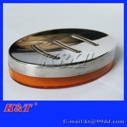 Orange oval transparent plastics soap case