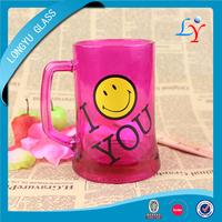 colored glassware wholesale glass beer mug colored purple beer glass mug with logo