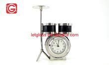 Metal black Mini Drum Quartz Novelty Desk Clock