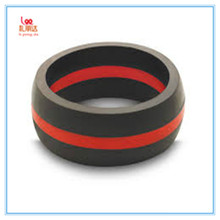 Light yellow color with red stripe silicone finger ring, Adult light yellow color with red stripe silicone finger ring