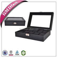 10 slots faux leather glass top watch organizer box