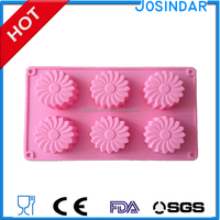 candle making Factory 6 cups Flower Baking muffin pudding Soap silicone Moulds Biscuit Chocolate Ice CubeJelly cake tools