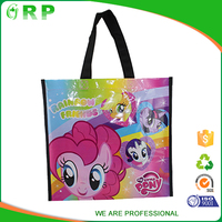 Lovely pink cartoon horse handle pp non woven blank tote bag