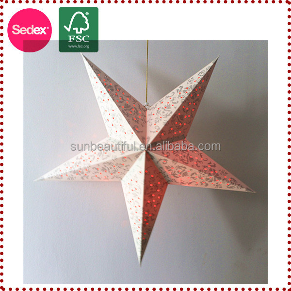 Chinese 3d christmas decoration hanging paper star for 3d star christmas decoration