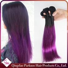 100% human hair guaranteed superior quality peruvian virgin human hair silky straight 1b and purple ombre color