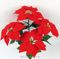 High quality artificial flowers fabric christmas poinsettia, artificial flower for sale