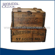 Antique Wood Crate with rusty metal strip