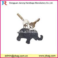 Custom animal shape cute elephant felt keyrings key holder