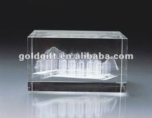 De gama alta de cubo de cristal de souvenirs con la construcción de láser 3D