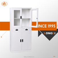Drawer Cupboard Easy to Assemble Glass Door Steel Storage Cupboard