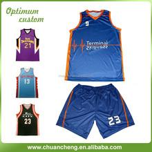 Sublimated Basketball Uniform For 100% Polyester, College Basketball Uniform Design