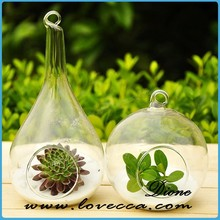 Hot selling !!! hand blown hanging glass terrarium ornament for home decor