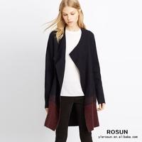 women Mohair Wool needle long Sweater Cardigan coat
