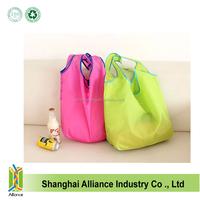 Wholesale promotion reusable 190T nylon foldable shoulder shopping bag with pocket