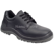 NMSAFETY smooth leather S1 anti static steel toe cap low cut pu safety shoes black PU outsole